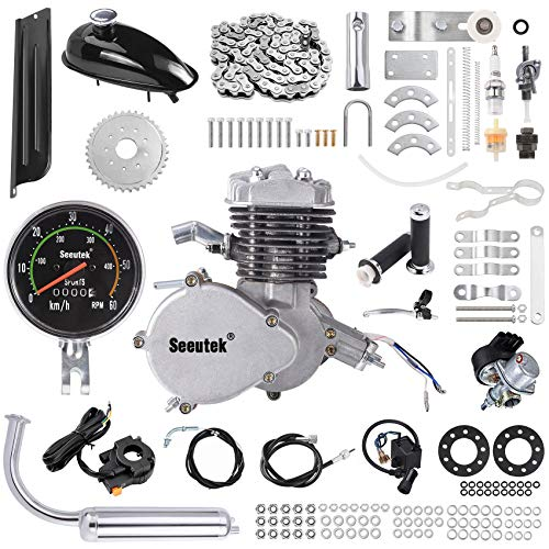Seeutek PK80 80cc Bicycle Engine Kit 2 Stroke Gas Motorized Bike Motor Kit Upgrade with Speedoemter