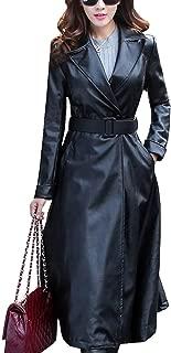 DISSA P987 Women Faux Leather Long Overcoat Slim Coat Leather Jacket