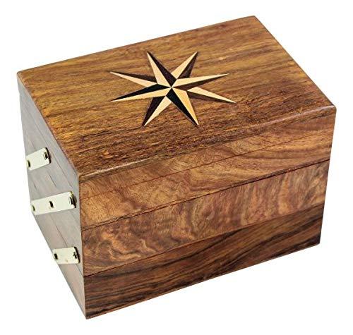 magicaldeco Schmuckschatulle - wie altes Nähkästchen ausziehbar - Holz mit Messing