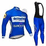 XGFHX Camisa de ciclismo de manga larga de lana cálida + Pantalones de cabestrillo acolchados de gel 5D Otoño Invierno Hombre