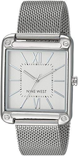 Nine West NW/2091SVSB Reloj de Pulsera de Malla Plateada para Mujer
