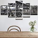 GHTAWXJ Toile HD Impressions Affiches Mur Art Photos 5 Pièces Vintage Moto Peintures Décor À La...