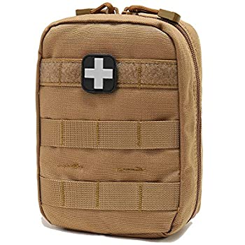 EMT Pouch MOLLE Ifak Pouch Tactical MOLLE Medical First Aid Kit Utility Pouch Carlebben  with Medical Supplies Tan