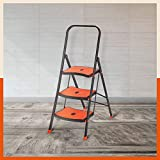 Bathla Boost Rhino 3-Step Foldable Steel Ladder with Anti-Slip Steps (Black + Orange)