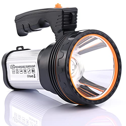 CSNDICE Flashlights High Lumens, Rechargeable Spot light High-35W Power Super Bright 6800mah 9600 Lumens, IPX45 Waterproof Brightest Flashlight with USB Output Function