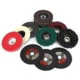 15Pcs 4inch Flap Discs Grinding Polishing Wheels Cut off Wheel Set,Assorted Grit 60 80 120 24 320 Flap Disc Cut off Wheel Strip Abrasive Disc Wheel Nylon and Wool Fiber Buffing Polishing Wheel