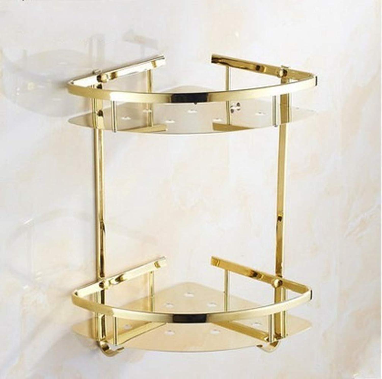 LUDSUY golden Triangle Basket European Style Shelf Stainless Steel Bathroom Pendant Double Angle Frame Bathroom Toilet Triangle Basket,Dual Tier gold