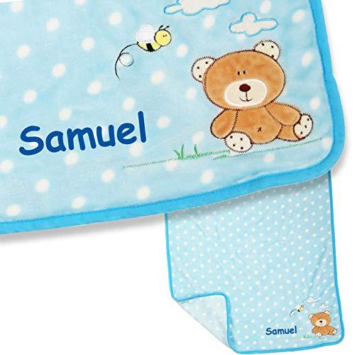 LALALO Teddy beer babydeken met naam geborduurd in blauw voor jongens, pluche deken, gepersonaliseerde knuffeldeken met naam voor baby's als geschenk voor geboorte, verjaardag & doop, 100x80 cm