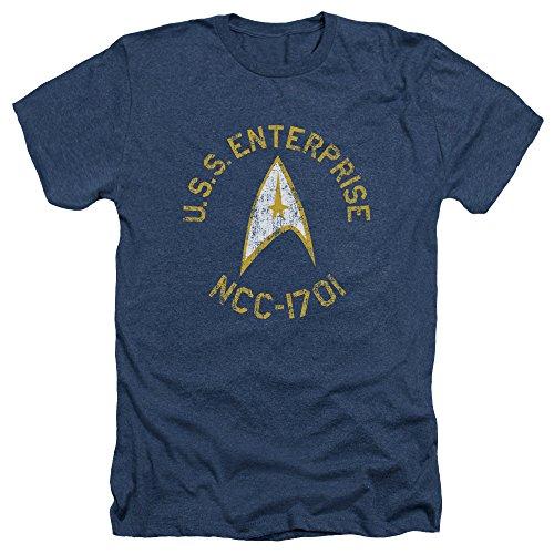 Star Trek The Original Sci-Fi TV Series Retro U.S.S Enterprise Adult HA T-Shirt Navy
