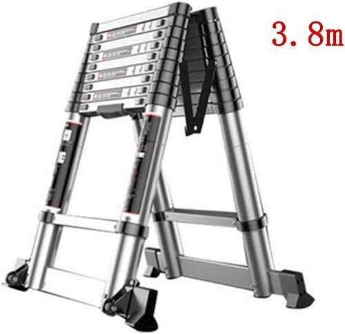 1058 YYHSND échelle télescopique de ménage portable Section de Bambou Monter et descendre échelle ingénierie attique échelle de Chevron en Alliage d'aluminium Double Face Escabeau (Taille   3.8m+3.8m)