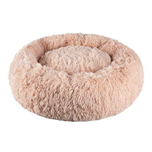 Dololoo Haustierbett für Katzen und Hunde Rundes Plüsch Hundebett Katzenbett (Größe:60cm, Beige) Mehrweg