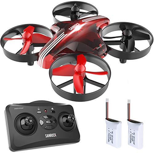 SANROCK GD65A Mini Drones for Kids and Beginners, RC Helicopter Indoor Plane Support Headless Mode, Altitude Hold, 3D Flip, One key return, with 2 Batteries, Great Gift/Toys for Boys and Girls