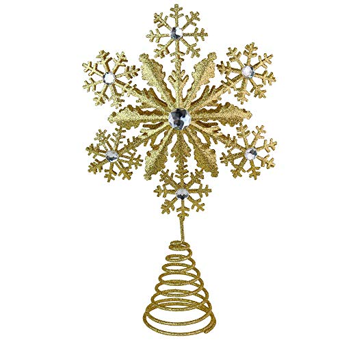 Glitter Snowflake Tree Topper - Gold Sparkling Gem Christmas Tree Decoration