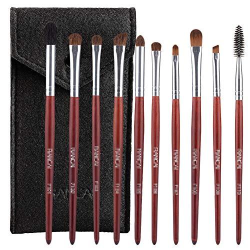 10 Pcs Ombre Brosse Set Maquillage Artiste Oeil Manche En Bois Professionnel Outil De Beauté Brosse À Sourcils Avec Un Sac De Brosse