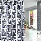 OuopBgbkkjn Duschvorhang Marilyn Monroe Muster Badezimmer Wasserdicht Stoff 12 Haken 183 x 183 cm