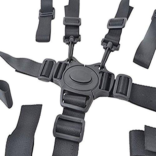 5 Punti Bambini Imbracatura per Seggiolone,Gancio Girevole Regolabile Cintura di Sicurezza per Passeggino per Seggiolone Carrozzina e Passeggino (Nero)