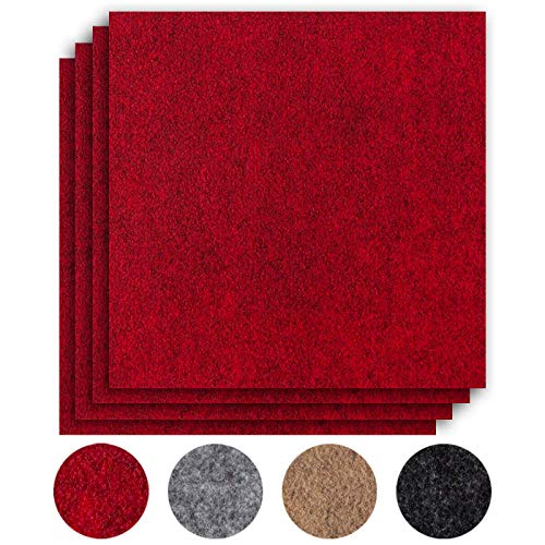 andiamo Teppichfliesen selbstklebend Teppichboden Bodenbelag Nadelfilz Fliese 40 x 40 cm - Set, Farbe:Rot, Größe:16 m²