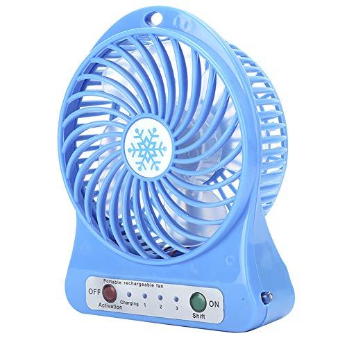 Mini ventilador de escritorio de 3 velocidades portátil con USB recargable, uso de cepillos y motores sin ranura, sistema de control inteligente, silencioso para el hogar, oficina, viajes(azul)