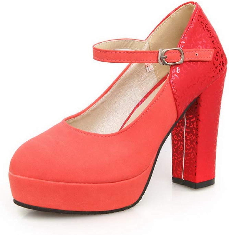 AdeeSu Womens Dance-Ballroom Platform Solid Leather Pumps shoes SDC05879