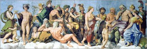 Poster 180 x 60 cm: Der Rat der Götter von Giulio Romano/Bridgeman Images - hochwertiger Kunstdruck, neues Kunstposter