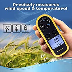 Ywoow Digital LCD Anemometer Wind Speed GM816 Tester Temperature Thermometer