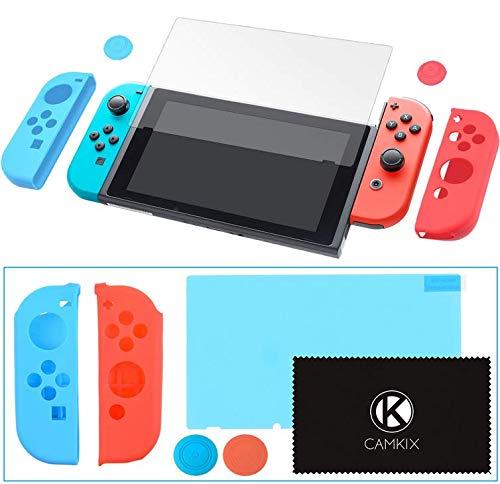CAMKIX Juego de Protección y Agarre, Compatible con Nintendo Switch: 2X Cubierta Joy con, 2X Tapa con Agarre para el Pulgar, 1x Protector de Pantalla Anti Rasguños, 1 Paño de Limpieza