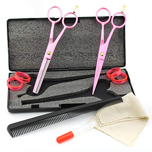 Haryali - Tijeras de peluquería para zurdos, color rosa profesional, de 6 pulgadas, para peluquería y peluquería