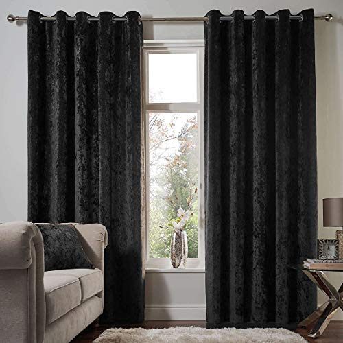 Luxury-Pair-of-Thermal-Soft-Crushed-Velvet-Velour-Eyelet-Top-Fully-Lined-Curtains-Tie-Backs-By-CosyWinks-Black-66×54