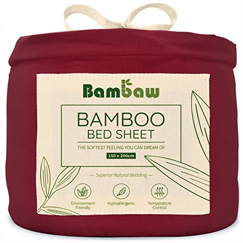 Sábana Bajera de Bambú | Suave y Lujosa | Fitted Sheet | Tejido de Microfibra Bambu | Bed Sheets | Sostenible | Sábana Hipoalergénica | Transpirable | Borgoña - 150x200| Bambaw