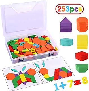 Afunti Puzzle en Bois Jouets Tangrams Blocs de Mod/èle Classiques Jouets Montessori Jouets /éducatifs avec 130 pi/èces