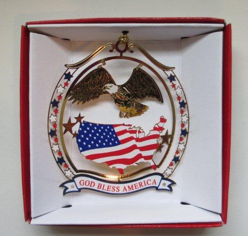 Nations Treasures God Bless America Christmas Ornament Patriotic Eagle USA Flag