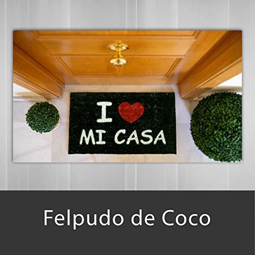 LucaHome - Felpudo de Coco Natural 70x40 con Base Antideslizante, Felpudo de Coco Divertido I Love mi casa,Felpudo Absorbente Entrada casa, Ideal para Puerta Exterior o Pasillo