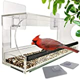 Foxup Window Bird Feeders with Sliding Feed Tray for Outside, Never Falling Off, Large Outside Bird Feeder for Wild Birds, Hanging Birdhouse Kit, Drain Holes, Super Strong Pegs