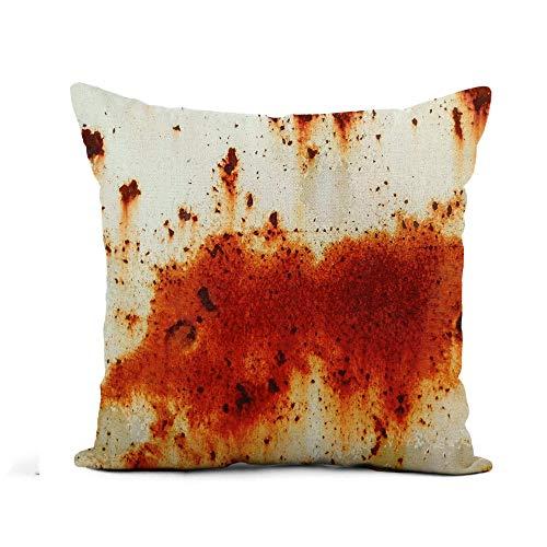 Throw Pillow Cover Brown Plate Old Metal Iron Rust Material Industrial Sucio Funda de Almohada Decoración para el hogar Funda de Almohada de Lino de algodón Cuadrada Funda de cojín