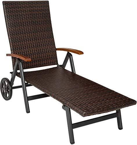 Sonnenliege, Poly Rattan Sonnenliege mit Armlehnen und Rollen, klappbar, Gartenliege mit höhenverstellbarer Rückenlehne-EIN