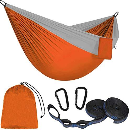 Eyscoco Hamaca al aire libre, 275 x 140 cm, hamaca para camping, transpirable, hamaca de viaje, hamaca de secado rápido, para exterior, camping, jardín y playa, naranja