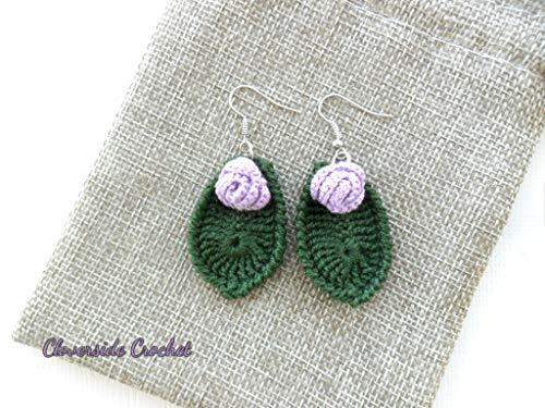 pendientes boho flor y hoja, pendientes rosa lila de ganchillo