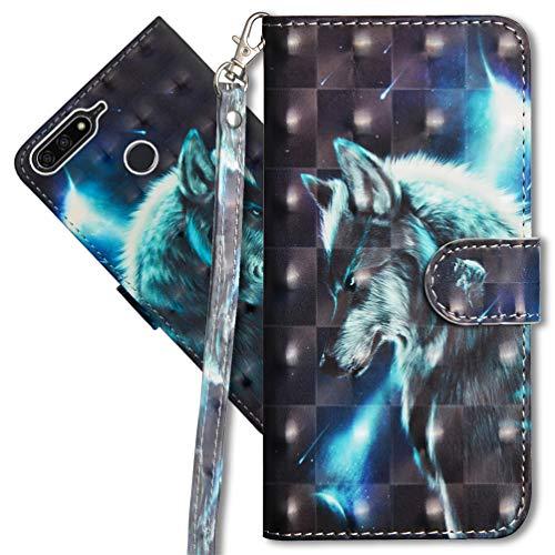 MRSTER Huawei Y7 2018 Handytasche, Leder Schutzhülle Brieftasche Hülle Flip Hülle 3D Muster Cover mit Kartenfach Magnet Tasche Handyhüllen für Huawei Y7 2018 / Honor 7C. YX 3D - Wolf