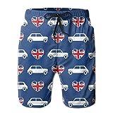 Mini Cooper Hearts - Union Jack Blue - Large_784 Pantalones Cortos de Playa de Verano para Hombre, L