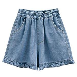 Luckycat Pantalones Cortos para Mujer Pantalones de Verano Boyfriend de Bermudas de Capri Mujer Pantalón Corto Vaquero con Volantes Jeans Pantalones Vaqueros con Bolsillos