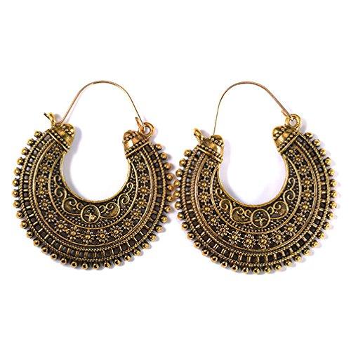 Toporchid Ohrringe Ethno Gross verziert Ohrringe Bohemian Vintage Ohrringe lang Hängend Antik Style Ornament Rund (Gold)