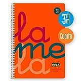 Cuaderno Espiral LAMELA Fluor, 4º 80 Hojas Cuadro 4 mm. Tapa Plástico (Naranja)