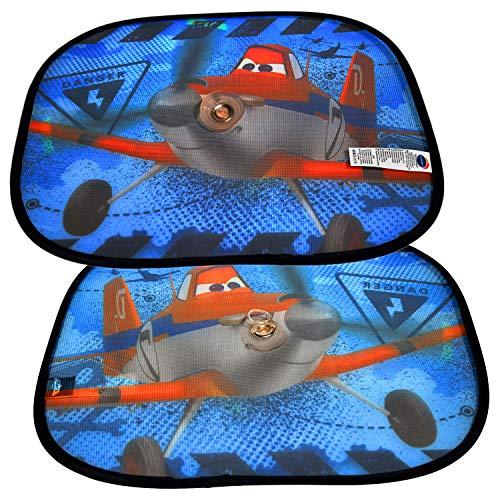 Disney | Planes | 28020 | 2 Tendine Parasole Planes | Set Kit Interni Copri Bambino E Neonato Per Finestrini Laterali Con Ventosa | Dimensioni 44x35 cm | Confezione Da Due Pezzi