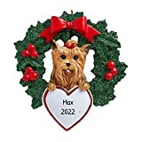 Personalized Yorkshire Terrier with Wreath Christmas Tree Ornament 2020 - Fluffy Dog Paw Pure Love Sassy Bow Play Yorkie Long Silky Social Smart Fur-Ever New Loyal Family R.I.P. - Free Customization