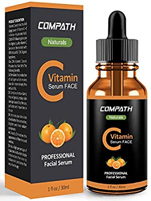 Vitamin C Serum Face, with Hyaluronic Acid, Vitamin E, Compath 20% Vitamin C Natural&Organic Serum, Restore&Boost Collagen, Anti Wrinkle, Firming, Dark Circle, Fine Line&Sun Damage Corrector-30ML by Compath