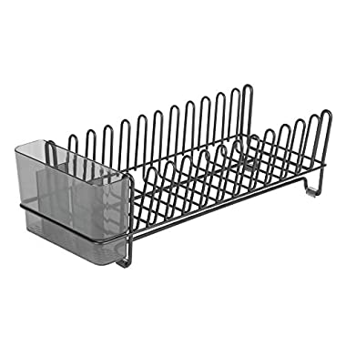InterDesign 60117 Classico Compact Kitchen Dish Drainer Rack for Drying Glasses, Silverware, Bowls, Plates - Matte Black/Smoke Classico Compact Dish Drainer