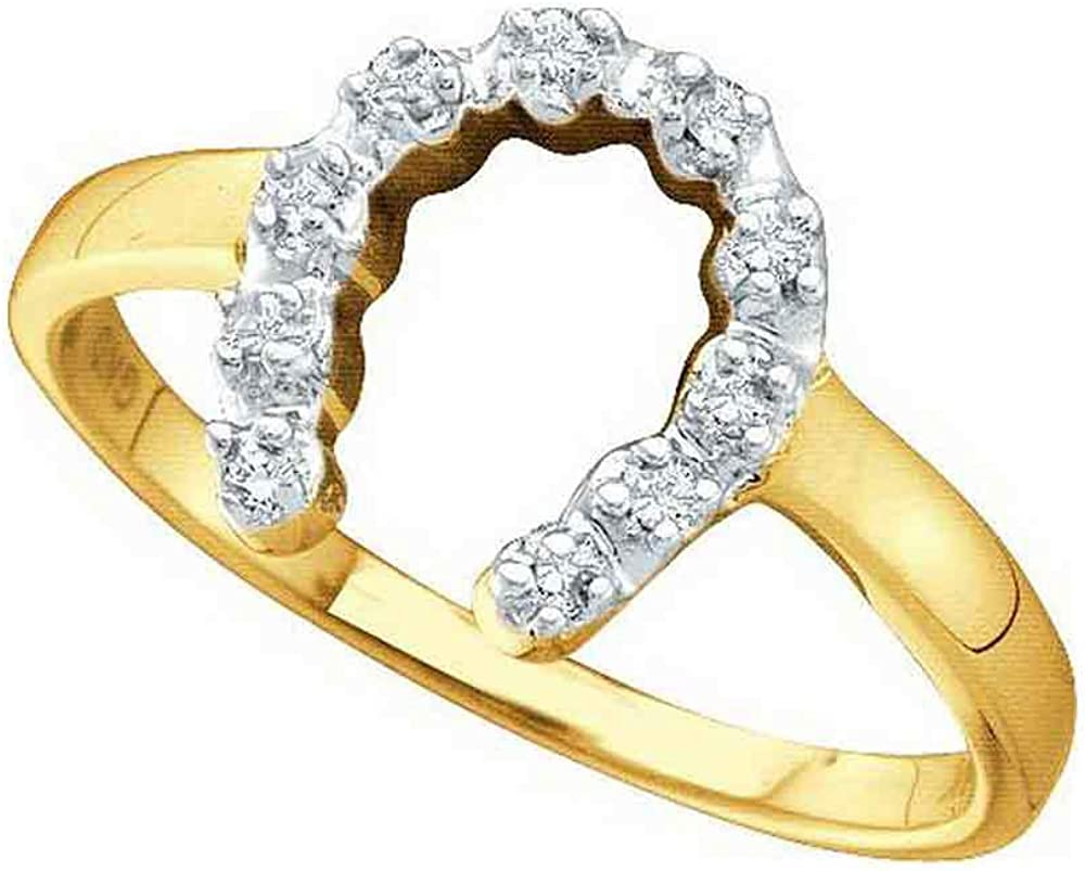Dazzlingrock Collection 14k Yellow Gold Diamond-accent Womens Small Horse shoe Lucky Ring 1/20 ctw