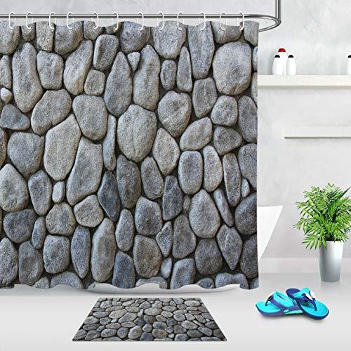 ZZ7379SL Muro Cortina de adoquines Naturales Cortina de baño impresión Digital 3D a Prueba de Humedad Resistente al Moho y Duradero 180 × 180 cm + 12 Gancho