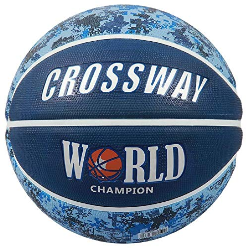 Best Price CROSSWAY Basketball Ball Import Rubber Size7 with Net Bag + Needle (Blue)