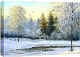 Canvas Prints Wall Art - Beautiful Winter Landscape, Canvas, Oil - 24' x 36'